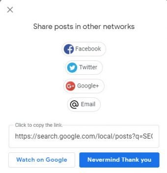 Google My Business - GMB - Create - Share Your Posts