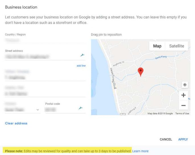 Google My Business - GMB - Business Location