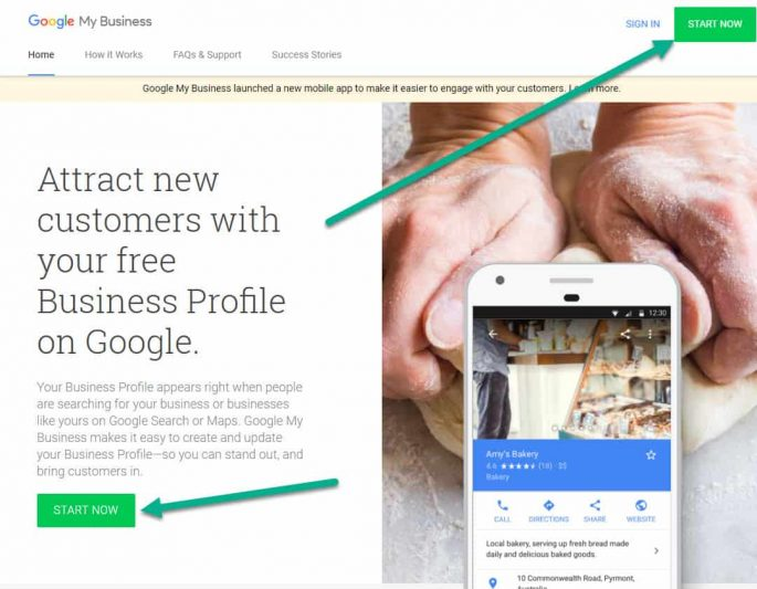 Google My Business - GMB - Click on Start Now button to create your free Business Profile on Google