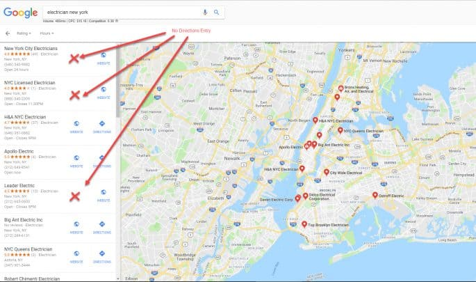 Google My Business - GMB - Missing Directions