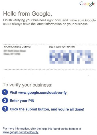 Google My Business - GMB - postcard-verification-email