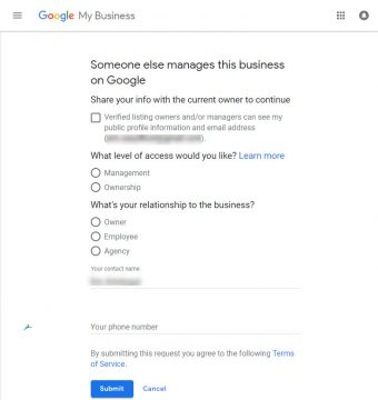 Google My Business - GMB - You can request access if someone else manages the business listing.