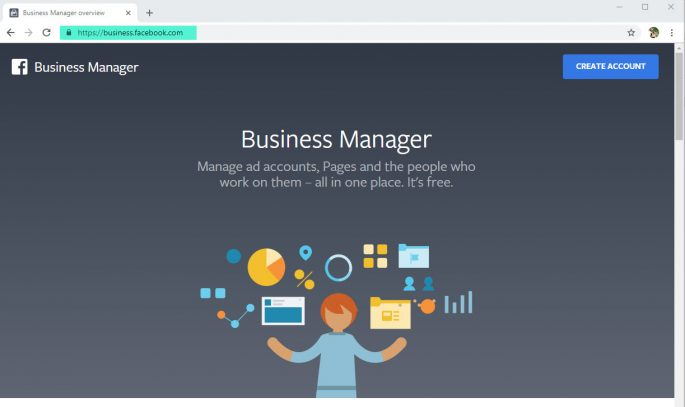 Go to Facebook Business Manager and create an account.