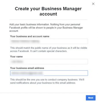 Create you Business Manager account.