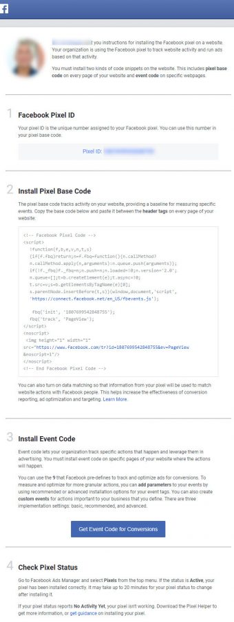 Set up Facebook Pixel - Email Instructions