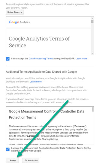 Setting up Google Analytics - Accepts Google Analytics Terms of Service