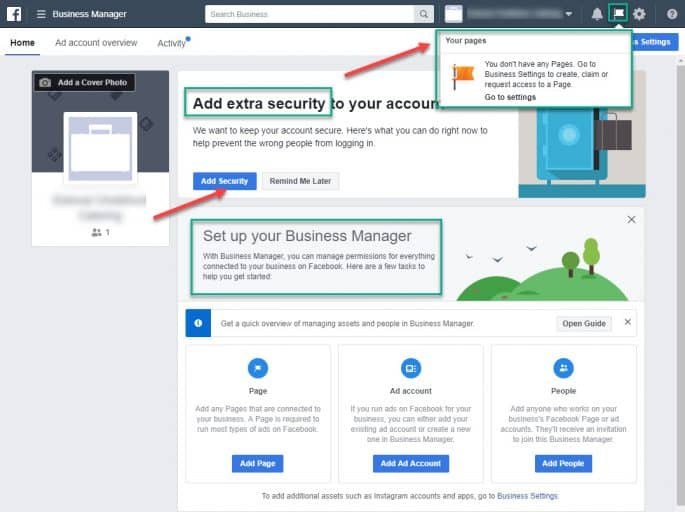 Facebook Business Manager Home Screen