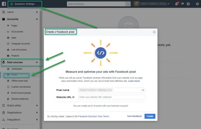 Create a Facebook Pixel