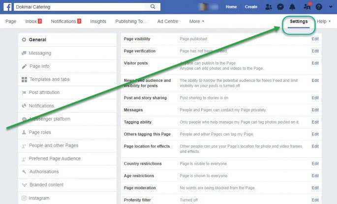 Facebook Business Manager - Settings Tab